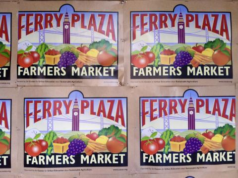 Affiche pour le grand Farmers Market au Ferry Building San Francisco