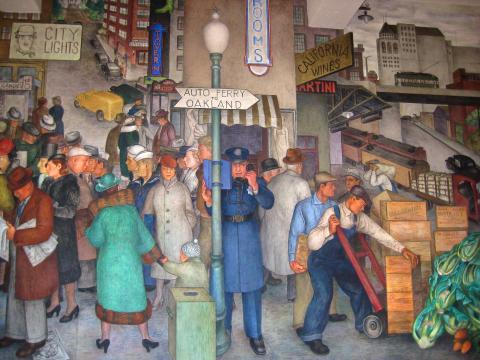 Photo : Fresque murale de la Coit Tower representant un policier dans la ville