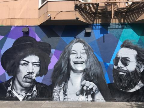 [Photo : Janis Joplin, Jimi Hendrix et Jerry Garcia des  Grateful Dead]